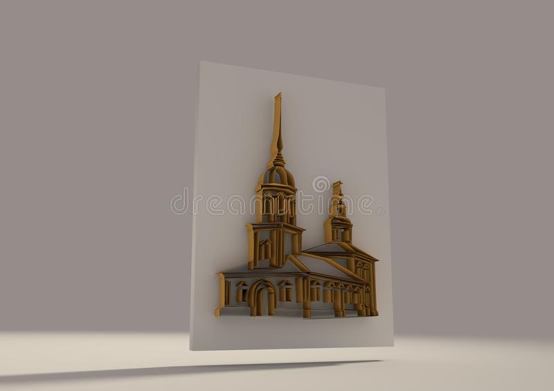 Russian orthodox church 3D sketch. Volume curves drawing stock illustration