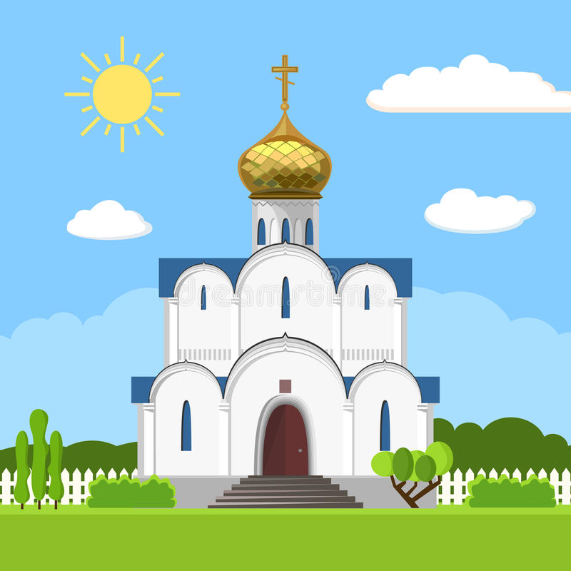 Russian orthodox church icon isolated on white background. Vector illustration for religion architecture design. Christianity, cross, dome, golden cupola stock illustration