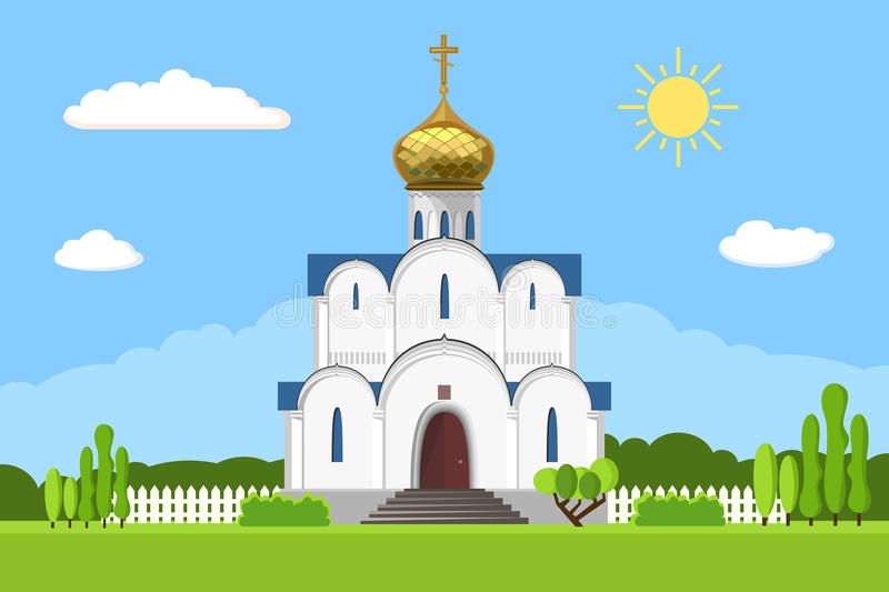 Russian orthodox church icon on white background. Vector illustration for religion architecture design. Christianity, cross, dome, golden cupola Famous temple stock illustration