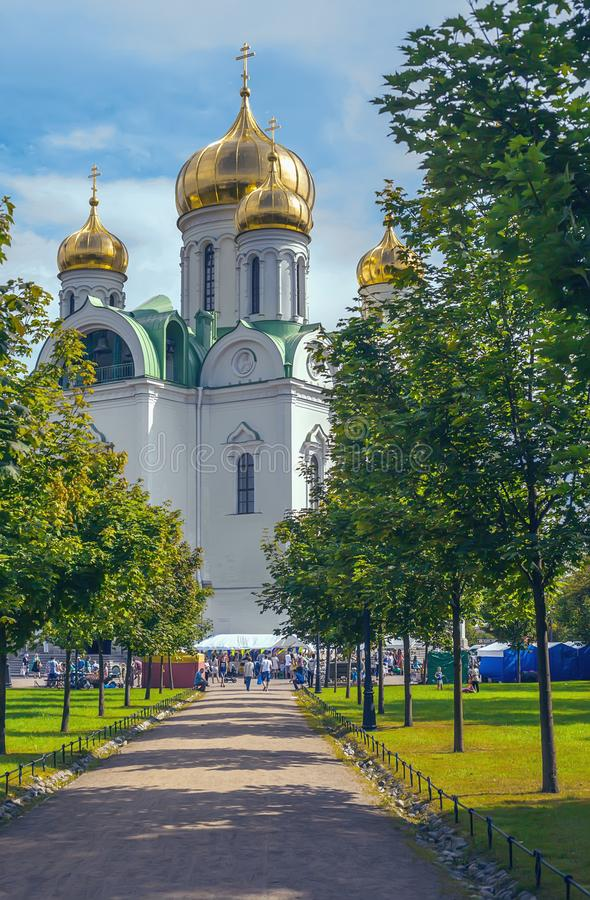 Russian Orthodox Church of Saint Catherine in a Sunny festive day stock photography