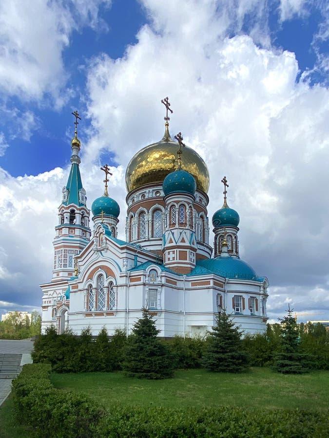 Russian Orthodox Church. Uspensky Dormition cathedral of Omsk, Russia. Russian Orthodox Church. Uspensky Dormition cathedral of Omsk, Russian Federation stock photography