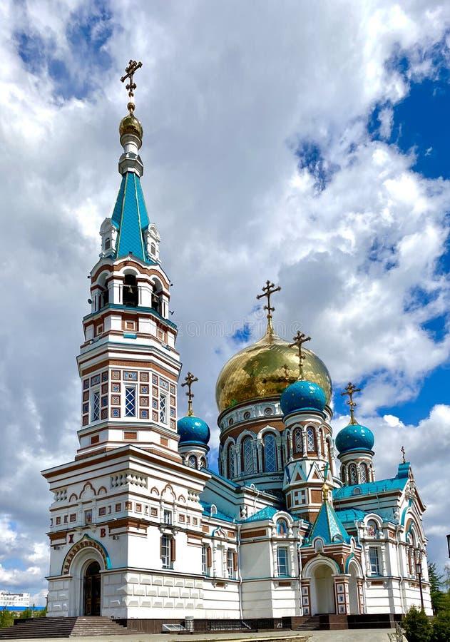 Russian Orthodox Church. Uspensky Dormition cathedral of Omsk, Russia. Russian Orthodox Church. Uspensky Dormition cathedral of Omsk, Russian Federation royalty free stock photos