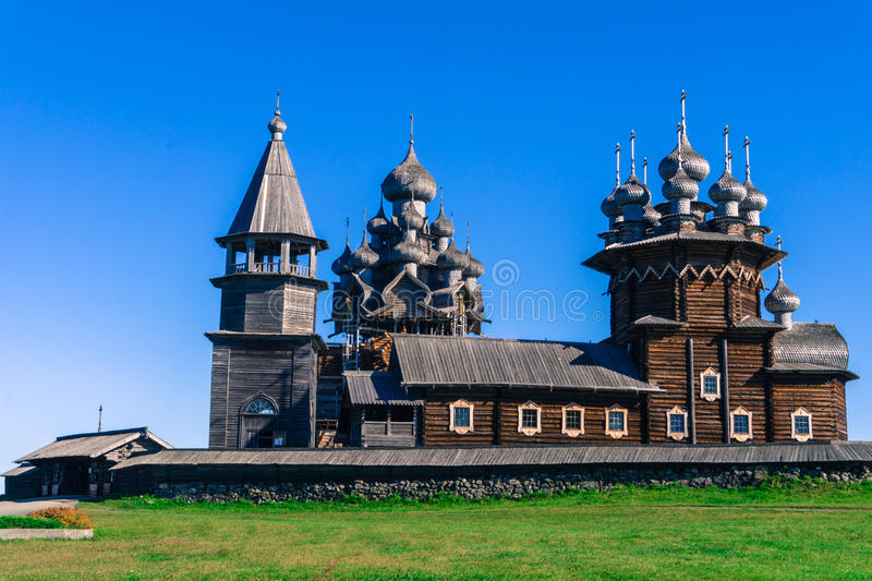 Russian Orthodox Churches with their domes and crosses against bright blue sky royalty free stock photography