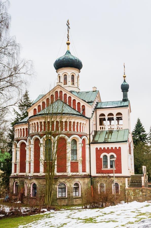 Russian orthodoxe church in the small west Bohemian spa town Mar. Ianske Lazne Marienbad - Czech Republic stock photo