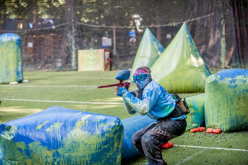 Russian Paintball Federation Stage 4 qualifying competitions in sports paintball. More than 12 teams from the Southern Federal Dis. Russia. Stavropol. 07/21/2018 royalty free stock photography