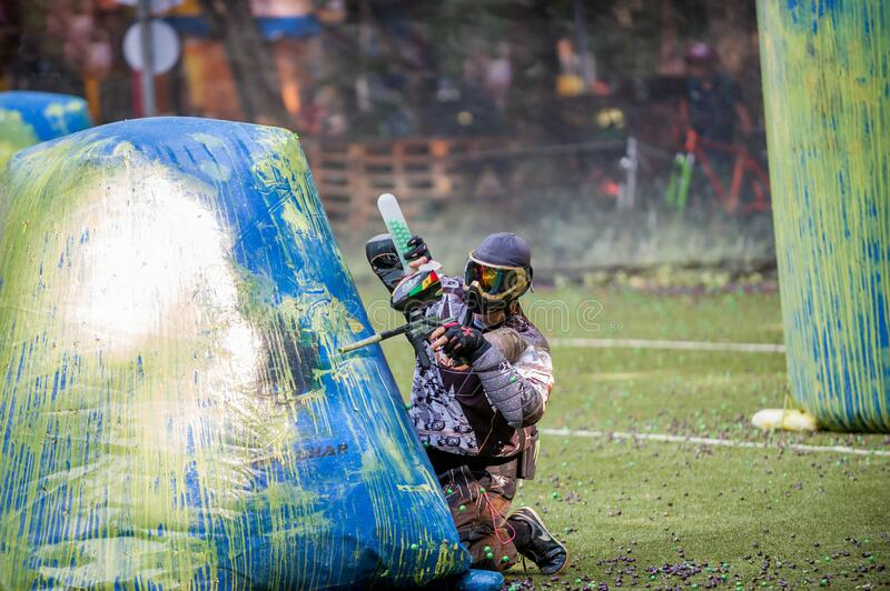 Russian Paintball Federation Stage 4 qualifying competitions in sports paintball. More than 12 teams from the Southern Federal Dis. Russia. Stavropol. 07/21/2018 royalty free stock photos