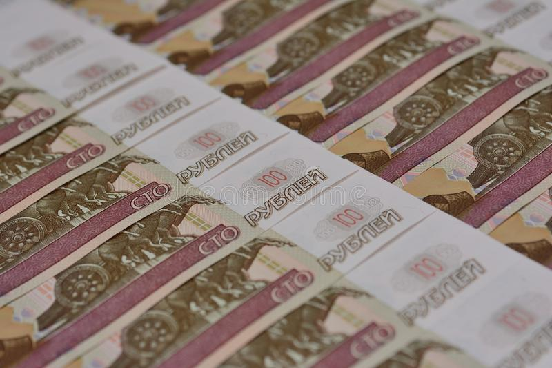 Russian paper banknotes lie flat layer royalty free stock images
