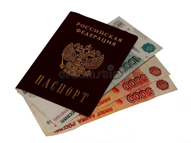 Russian passport with money on a white background. Closeup royalty free stock photography