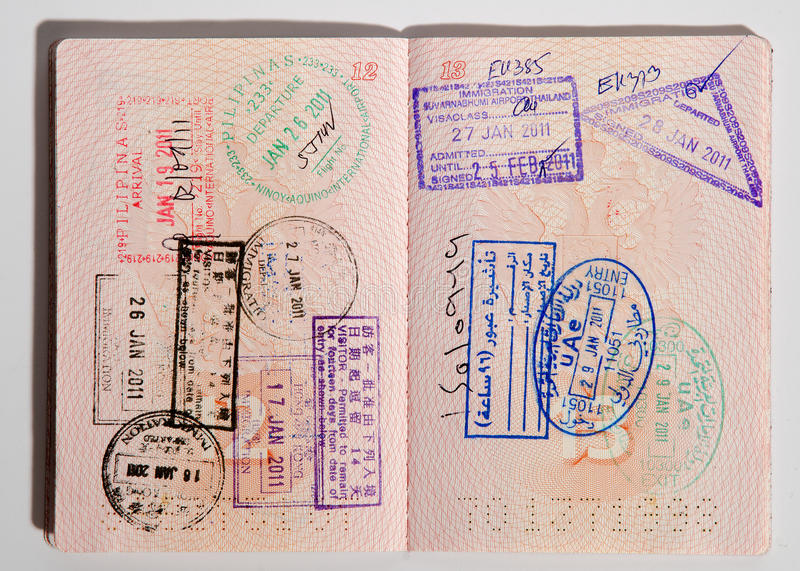 Russian passport. Stamped on border crossing stock photos