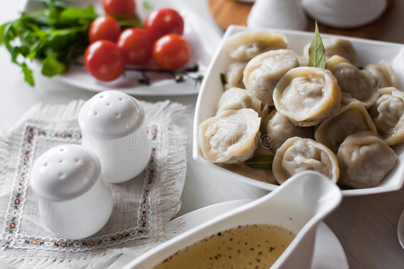 Download Russian pelmeni stock photo. Image of butter, cream, dinner - 28954148