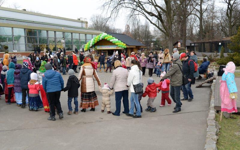 Russian people celebrates Maslenitsa. KALININGRAD, RUSSIA - FEB 21, 2015: Russian people celebrates Shrovetide. Maslenitsa or Wide Pancake Week is the Slavic royalty free stock photos