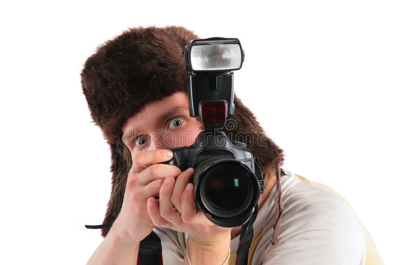 Russian photographer in fur hat stock photo