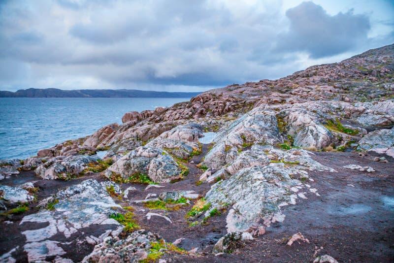 Russian polar region, Kola Peninsula, overlooking the Barents sea the Arctic ocean, Murmansk oblast stock images