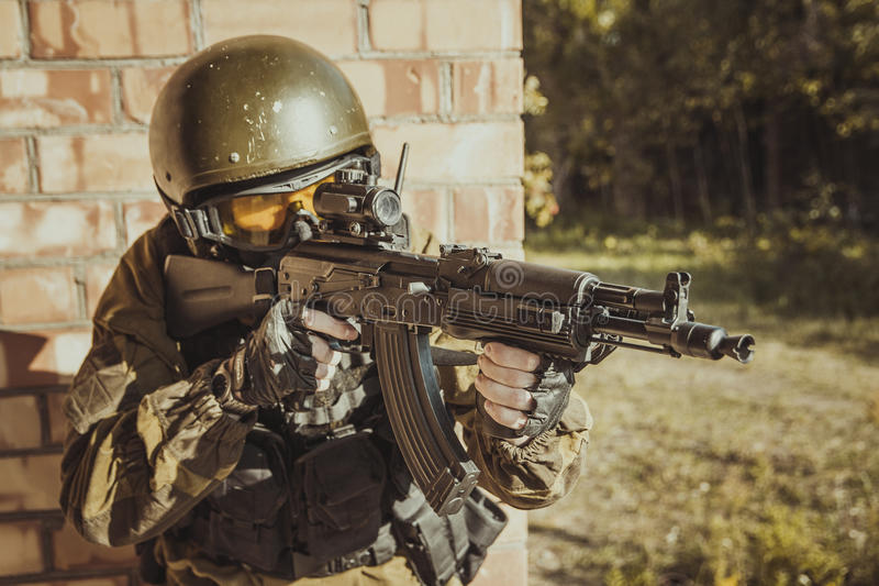 Russian police special force. The man in the image of a member of the special forces division. Russian police special force - Special Rapid Response Unit or SOBR stock photos