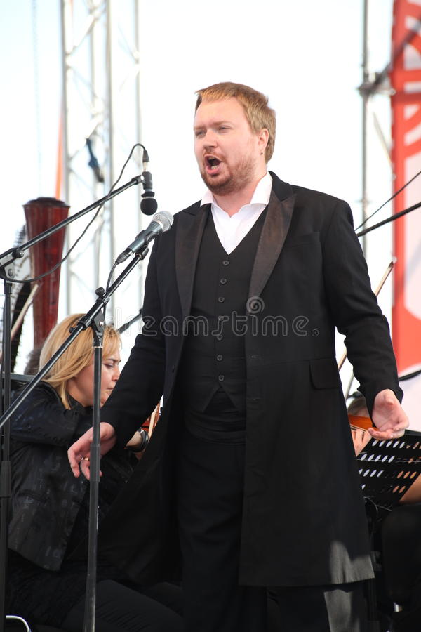 Russian popular actor, Opera singer Boris pinkhasovich, baritone, star of the Mikhailovsky theatre, Russia. on the open stage stock photos