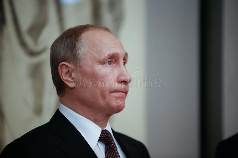 Russian President Vladimir Putin in Athens. Athens, Greece - May 27, 2016: Russian President Vladimir Putin delivers a speech during his visit at the Byzantine stock photography