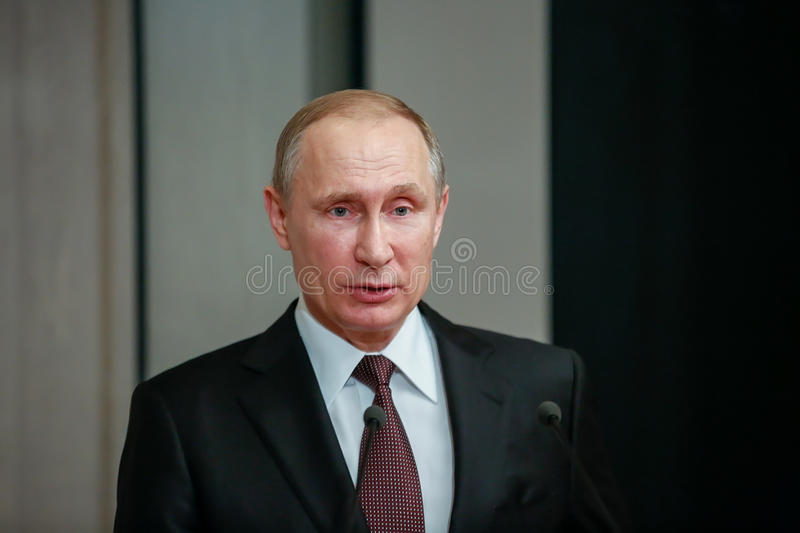 Russian President Vladimir Putin in Athens. Athens, Greece - May 27, 2016: Russian President Vladimir Putin delivers a speech during his visit at the Byzantine stock images