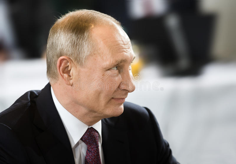 Russian President Vladimir Putin. BERLIN, GERMANY - Oct 19, 2016: Russian President Vladimir Putin before the negotiations of leaders of states in Normandy royalty free stock photos