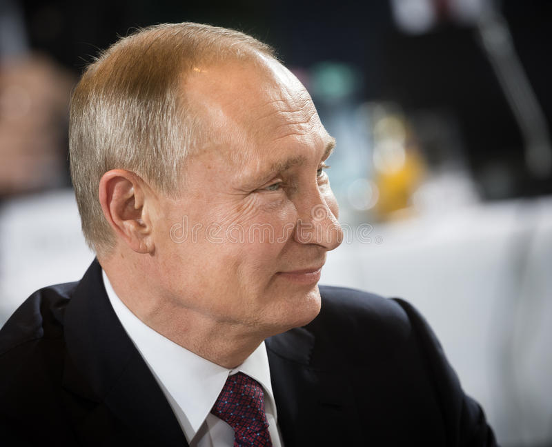 Russian President Vladimir Putin. BERLIN, GERMANY - Oct 19, 2016: Russian President Vladimir Putin before the negotiations of leaders of states in Normandy royalty free stock photo