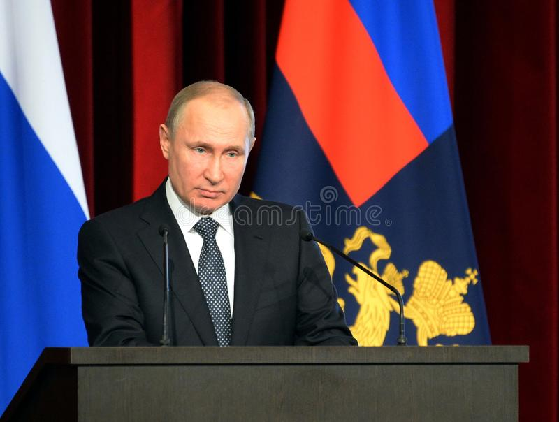 Russian President Vladimir Putin. MOSCOW, RUSSIA - FEBRUARY 28, 2018: Russian President Vladimir Putin stock images