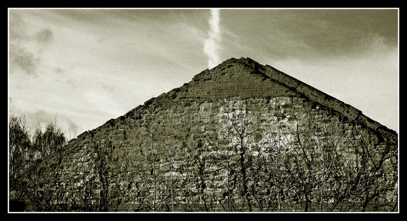 Russian pyramid in Egypt in the old town of Elabuga the roof of the house stock photo