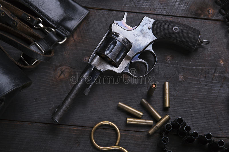 Russian Revolver 1895 year holster cartridges cartridge bullets. A stock image