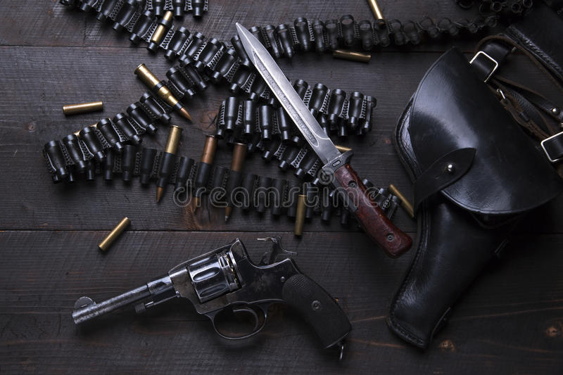 Russian Revolver 1895 year holster cartridges cartridge bullets. A royalty free stock image