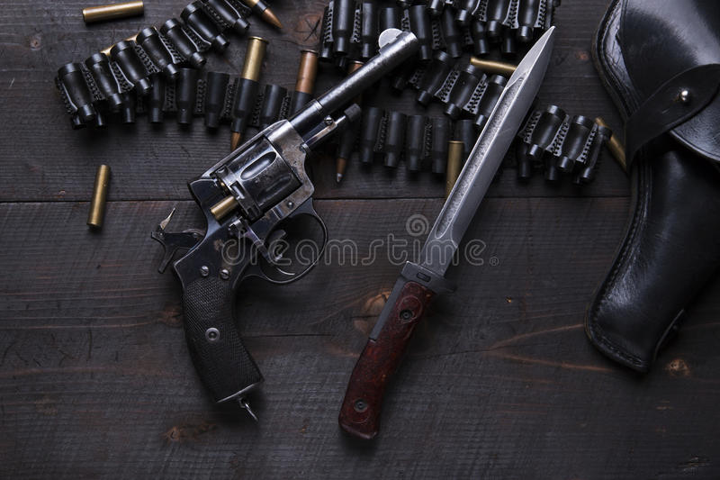 Russian Revolver 1895 year holster cartridges cartridge bullets. A royalty free stock photos