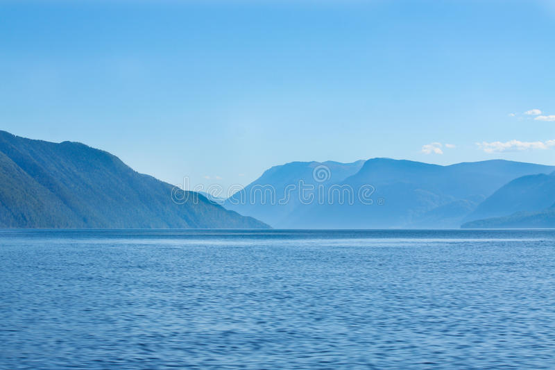 Russian river and mountains royalty free stock photography