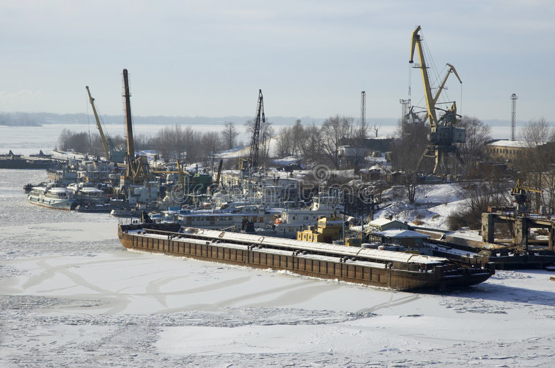 Russian river Volga in winter time royalty free stock photo