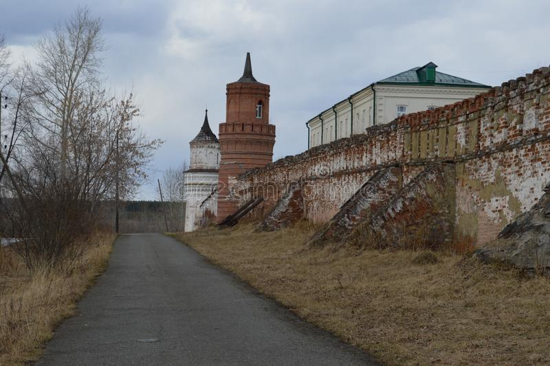 Russian road Russian village happiness silence peace peace Church field green stock photography