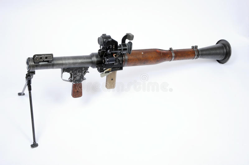 A Russian RPG 7 rocket launcher with bipod mount and long range optical sight. royalty free stock photography