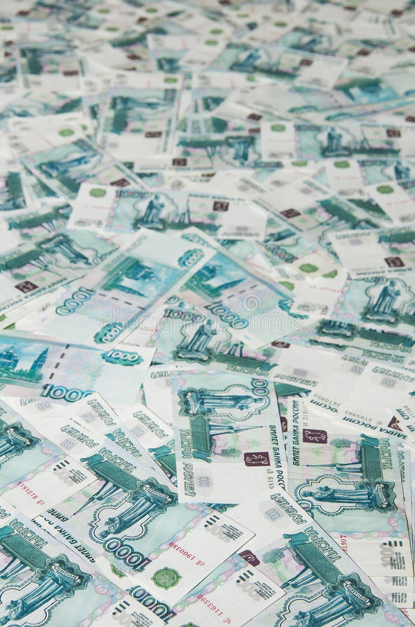 Russian Ruble. Background of money in 1000 rubles royalty free stock image
