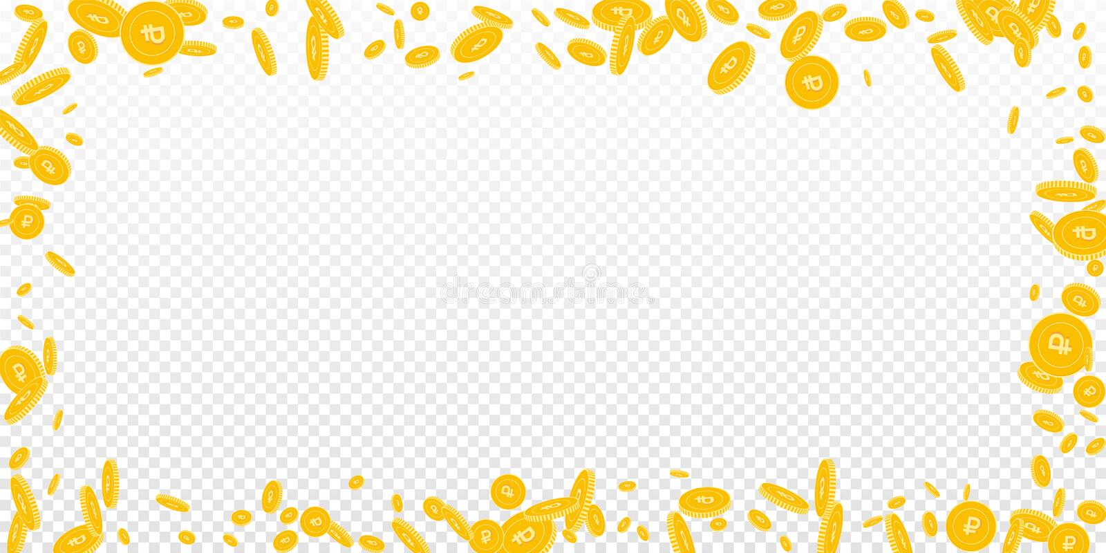 Russian ruble coins falling. Scattered disorderly. RUB coins on transparent background. Fabulous wide scattered frame vector illustration. Jackpot or success vector illustration