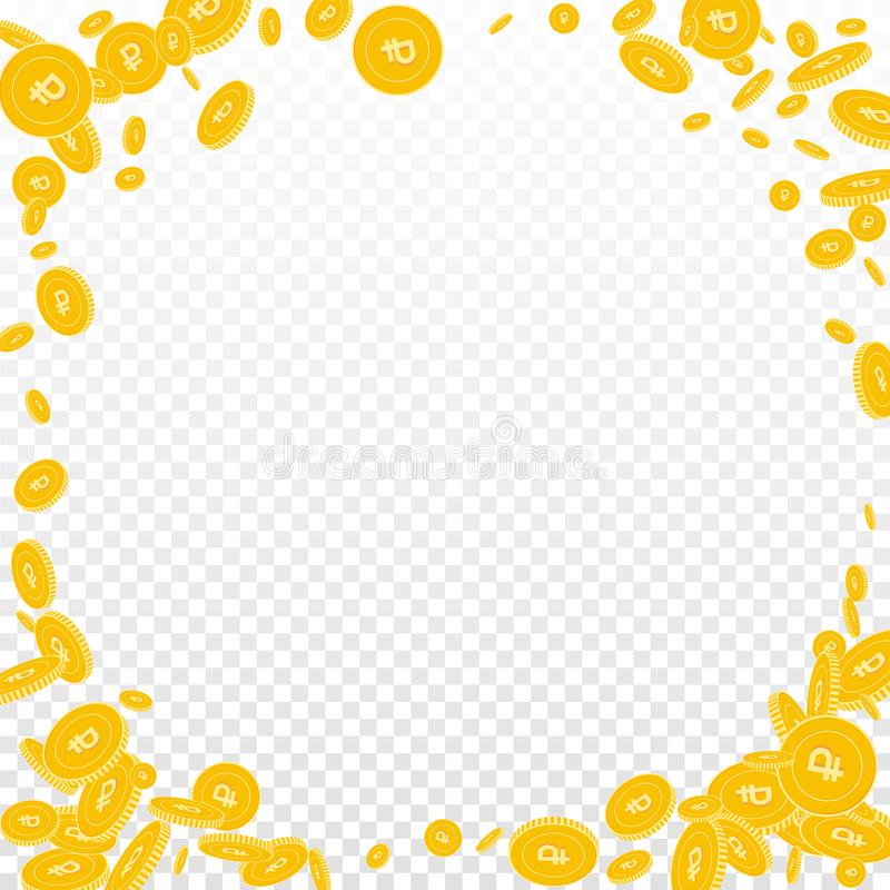 Russian ruble coins falling. Scattered disorderly. RUB coins on transparent background. Resplendent corner frame vector illustration. Jackpot or success concept royalty free illustration