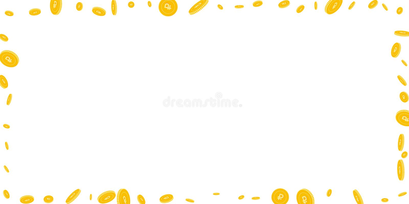 Russian ruble coins falling. Scattered disorderly. RUB coins on white background. Cute wide frame vector illustration. Jackpot or success concept stock illustration