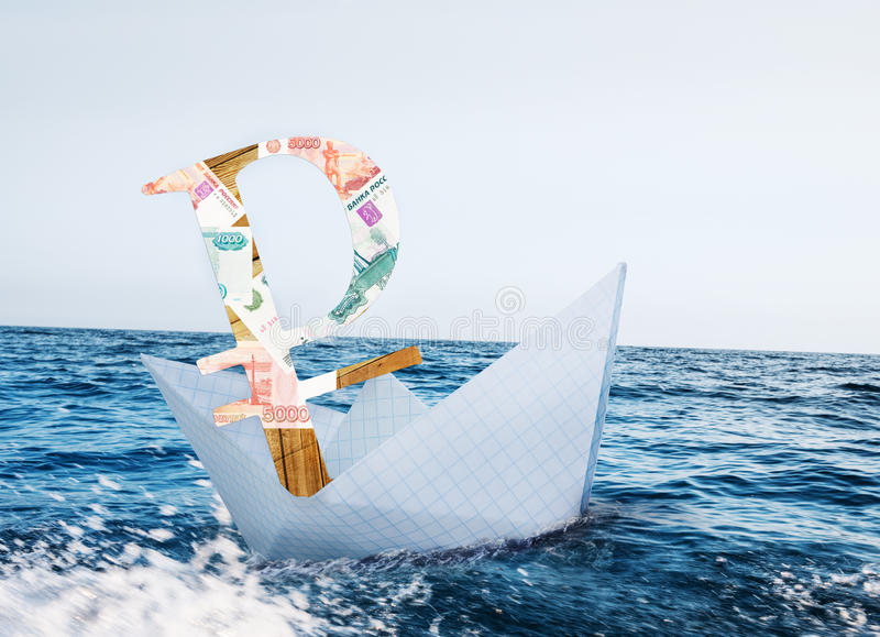 Russian ruble crisis. Russian ruble in crisis and sanctions royalty free stock images