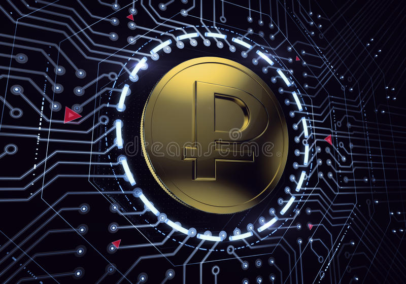 Russian Ruble Digital Coin. Golden coin with the rouble symbol in electronic cyberspace. 3D rendered graphics royalty free stock photo
