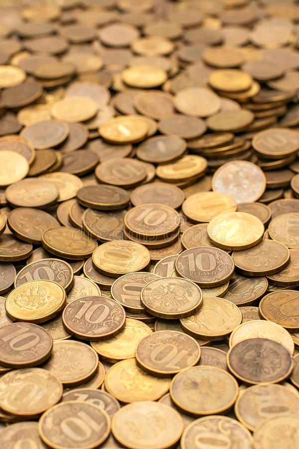 Russian ruble piece for business, metal money, financial and economy copper coin, Pile of Golden silver coin, quarters stock photo