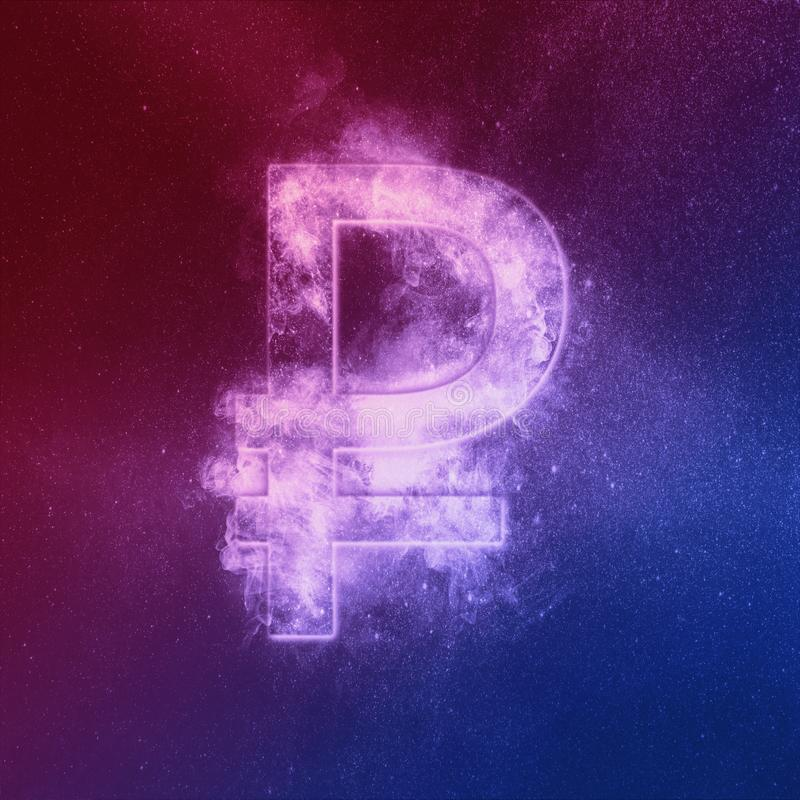 Russian Ruble symbol Red Blue. Ruble Sign. Monetary currency symbol. Abstract night sky background royalty free illustration
