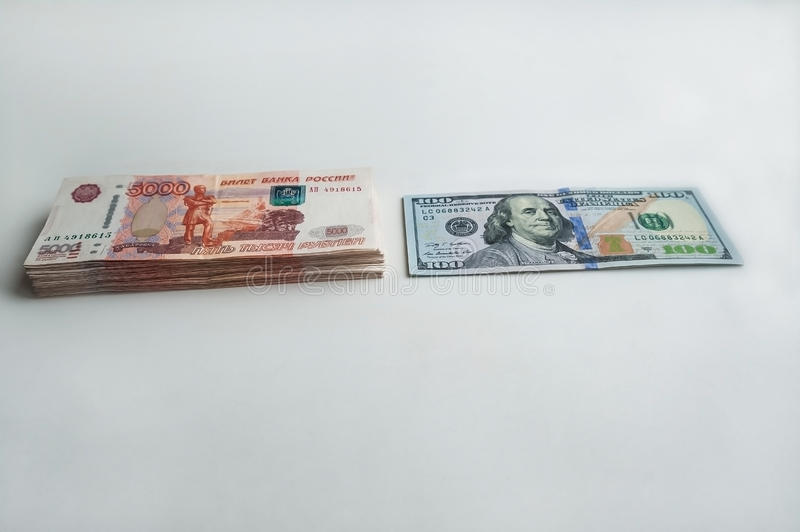 Russian rubles and American dollars. stock photography