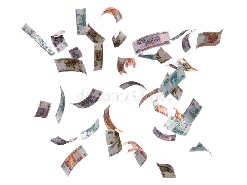 Russian rubles flying stock photos