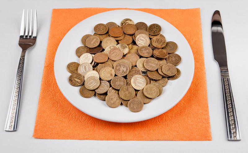 Russian Rubles in the Plate stock photo