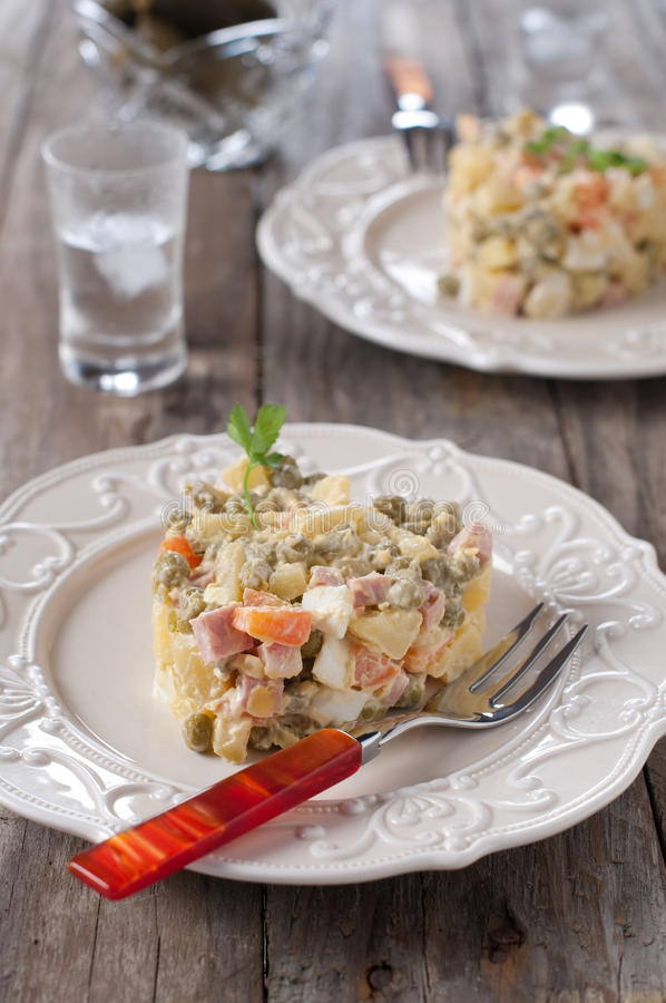 Download Russian salad stock photo. Image of potato, lunch, salad - 28222774