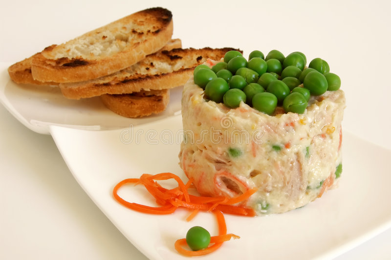 Russian salad with bread royalty free stock photos