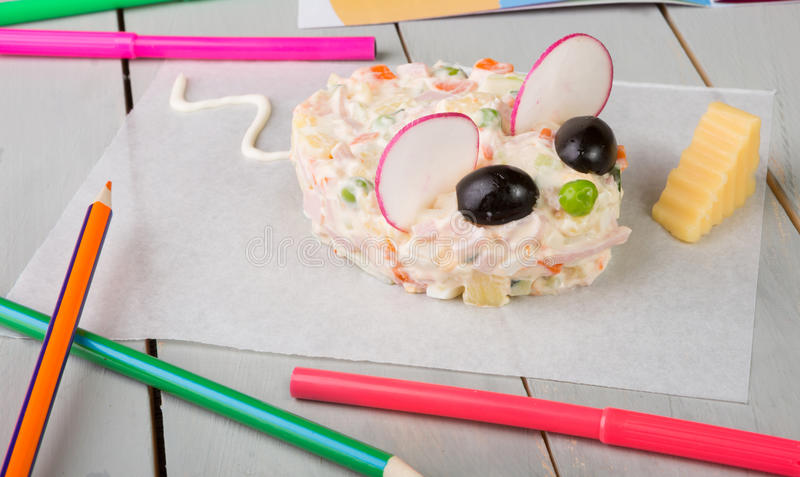 Russian salad for kids royalty free stock photos