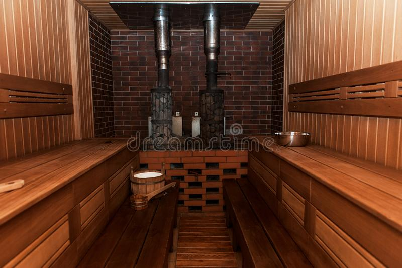Russian sauna interier stock photo