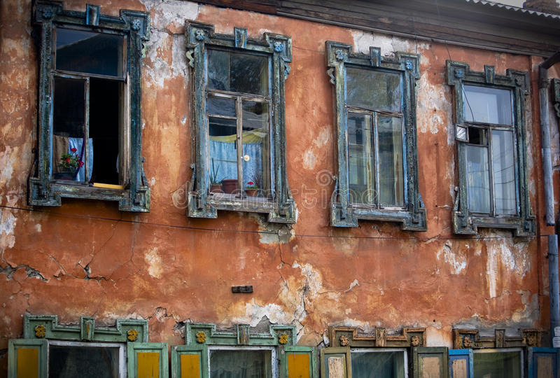 Russian shabby windows stock photo