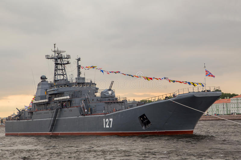 A Russian ship. In the Neva river royalty free stock photography