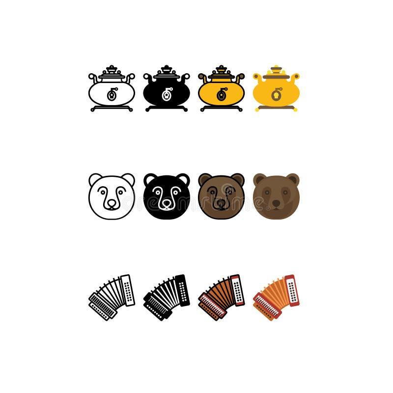 Russian Siberia set icons outline, flat design. Russian Siberia set icons , symbol, traditional. Bear, samovar and accordion. Outline , flat design icons vector illustration